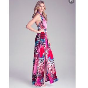 Bebe Halter Double Slit Tie Neck Print Maxi Dress